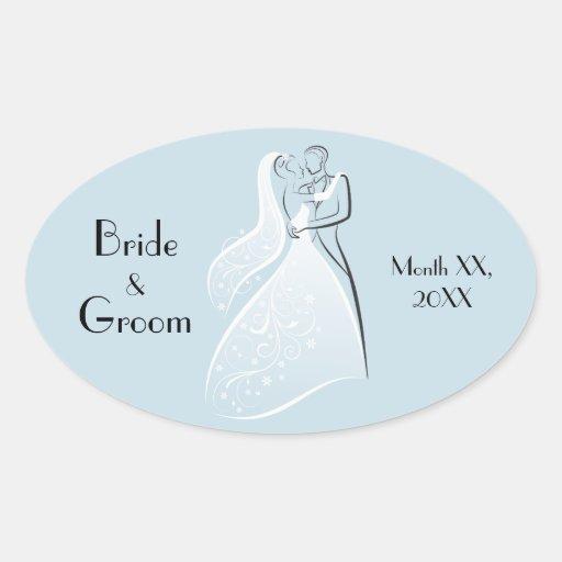 Fertigen Sie Produkt-blaue Retro Hochzeits-Tänzer- Ovale Aufkleber