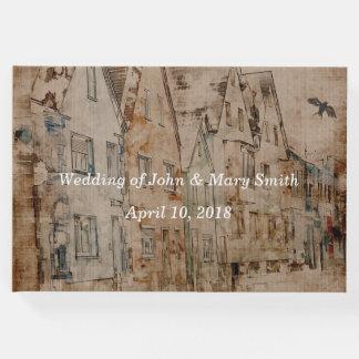 Fertigen Sie Vintage Sepiawatercolor-Dorf-Hochzeit Gäste Buch