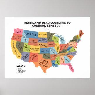 Festland USA entsprechend gesundem Menschenverstan Plakate