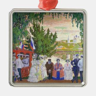 Festliche Gathering, 1910 Quadratisches Silberfarbenes Ornament