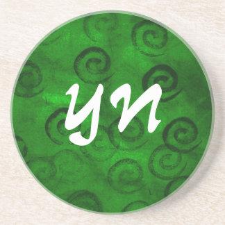 Festliche grüne Spiralen Bierdeckel