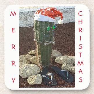 Festliche Kaktus Weihnachtsquadrat-Untersetzer Getränkeuntersetzer