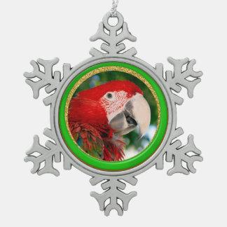 Festliche Papageien-Haustier-Foto-Verzierung Schneeflocken Zinn-Ornament