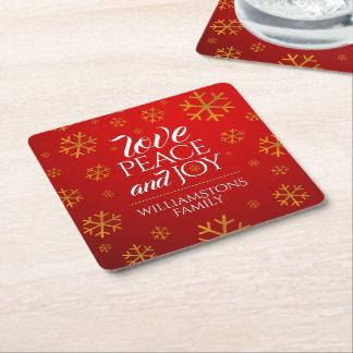 Festliche rote Liebe, Frieden und Freude mit Rechteckiger Pappuntersetzer