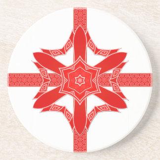 Festliche rote Stern-Blumen-Spitze Getränkeuntersetzer