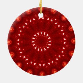 Festliche rotes, orange und weißes rundes keramik ornament