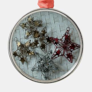 Festliche Sterne Silbernes Ornament
