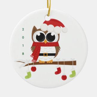 festliche Verzierung der Eule 2018 (frohe Keramik Ornament