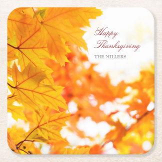 Festlicher Erntedank-Herbst Kartonuntersetzer Quadrat