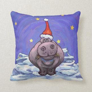 Festlicher Flusspferd-Feiertag Kissen