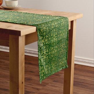 Festlicher Grün-und Golddamast-Tabellen-Läufer Großer Tischläufer