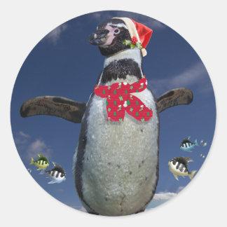 Festlicher Pinguin-Aufkleber Runder Aufkleber