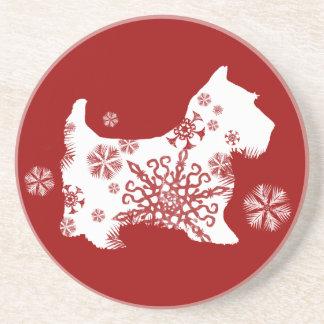 Festlicher Weihnachtsschneeflocke-Hund Bierdeckel
