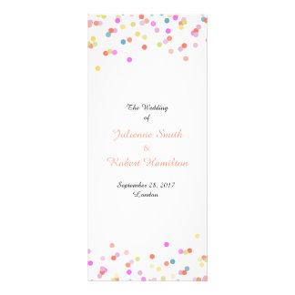 Festliches Confetti-Hochzeits-Zeremonie-Programm Werbekarte