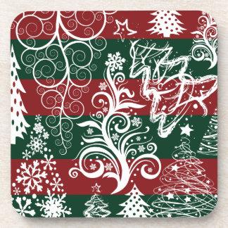 Festliches Feiertags-Weihnachtsbaum-rotes Grün Drink Untersetzer