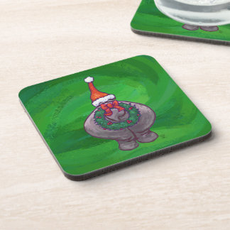 Festliches Flusspferd auf Grün Untersetzer