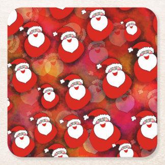 Festliches Weihnachtsmann-Muster Kartonuntersetzer Quadrat