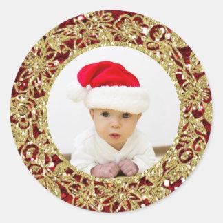 Festliches Weihnachtsrotes GoldGlitter-blick Foto Runder Sticker