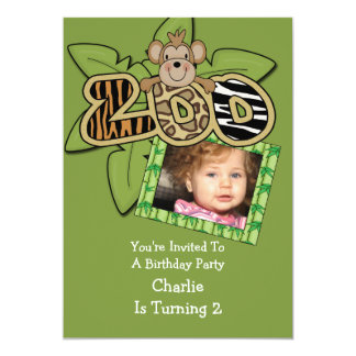 Fête d'anniversaire animale de zoo carton d'invitation  12,7 cm x 17,78 cm
