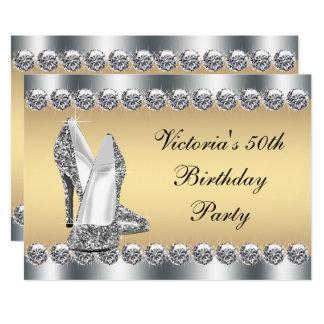 Fête d'anniversaire argentée de Bling de diamant Carton D'invitation 12,7 Cm X 17,78 Cm