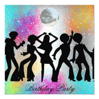 Fête d'anniversaire de disco de danse psychodelic carton d'invitation  13,33 cm