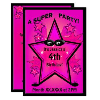 Fête d'anniversaire de fille d'étoile de super carton d'invitation  12,7 cm x 17,78 cm