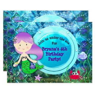 Fête d'anniversaire de sirène de fille sous la carton d'invitation  11,43 cm x 15,87 cm