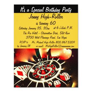 Fête d'anniversaire de thème de casino de Las Invitation Personnalisée