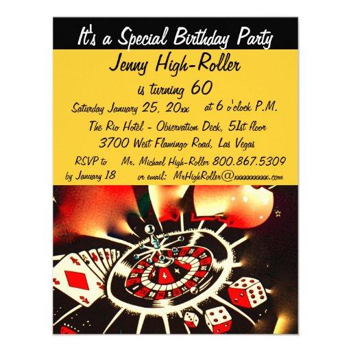 Fête d'anniversaire de thème de casino de Las Vega Invitation Personnalisée