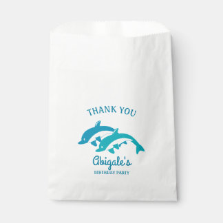 Fête d'anniversaire de vie marine de dauphin sachets en papier