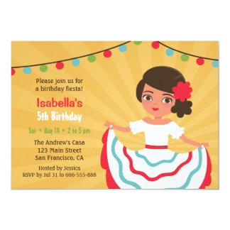 Fête d'anniversaire hispanique mignonne de filles carton d'invitation  12,7 cm x 17,78 cm