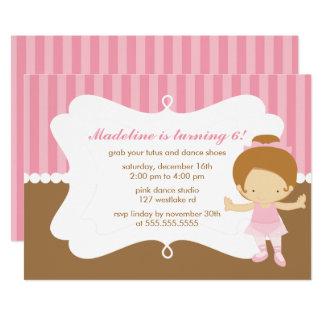 Fête d'anniversaire orientée de filles de ballet carton d'invitation  12,7 cm x 17,78 cm