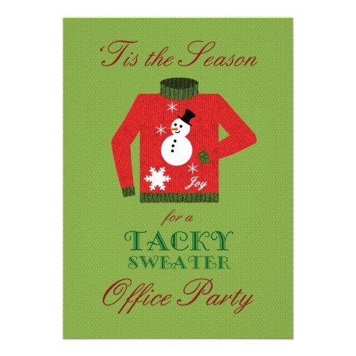Fête de Noël de mauvais goût de bureau de chandail Invitations Personnalisables