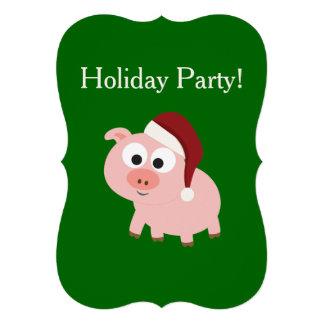 Fête de vacances Porc de Père Noël Invitation Personnalisable