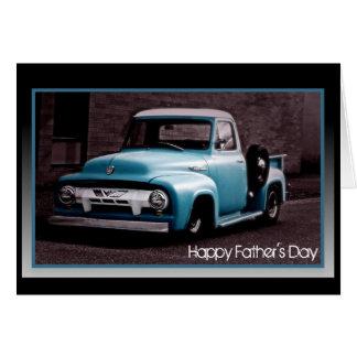 Fête des pères - camion pick-up bleu vintage carte de vœux