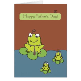 Fête des pères - grenouilles par le pignon rouge carte de vœux