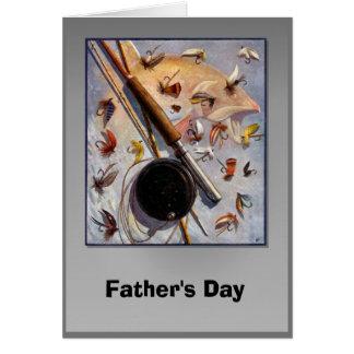 Fête des pères - mouches de pêche carte de vœux