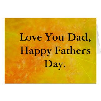 Fête des pères orange lumineuse carte de vœux