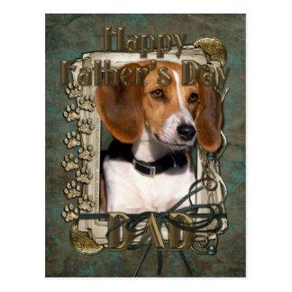 Fête des pères - pattes en pierre - beagle cartes postales