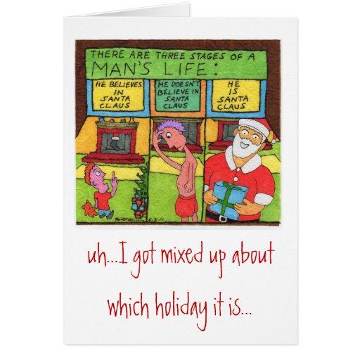 Fête des pères Père Noël Carte De Vœux