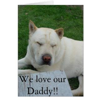 Fête des pères sacrée de chien carte de vœux