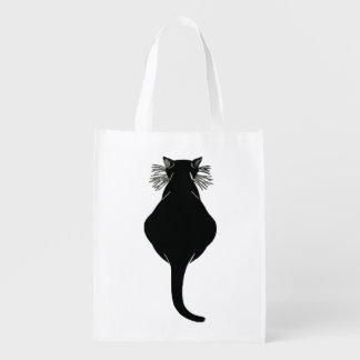 Fette schwarze Katzen-Rückseite Wiederverwendbare Einkaufstasche