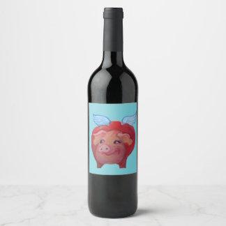 fetter Fliegenschwein-Weinaufkleber Weinetikett