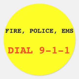 Feuer, Aufkleber Polizei EMS 911