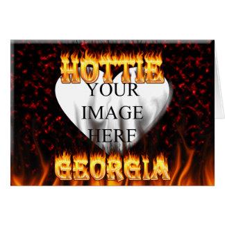 Feuer Georgia Hottie und rotes Marmorherz Karte