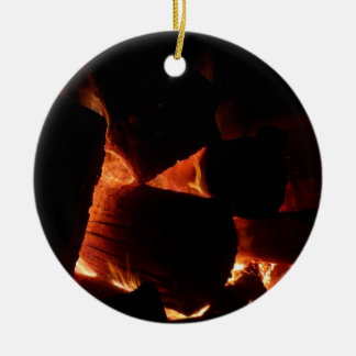 Feuer-Gruben-Winter-brennende Klotz Keramik Ornament