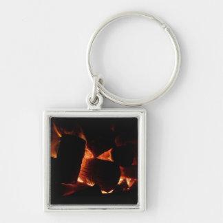 Feuer-Gruben-Winter-brennende Klotz Schlüsselanhänger