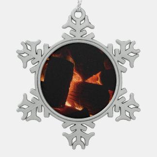Feuer-Gruben-Winter-brennende Klotz Schneeflocken Zinn-Ornament