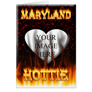 Feuer Marylands Hottie und rotes Marmorherz Karte
