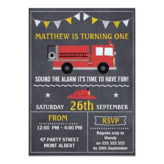 Feuer-Motor-Tafel-Geburtstags-Party Einladung